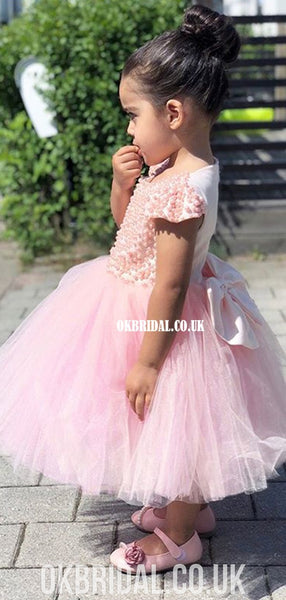 Cap Sleeve Beaded Tulle A-line Flower Girl Dress, FC2105