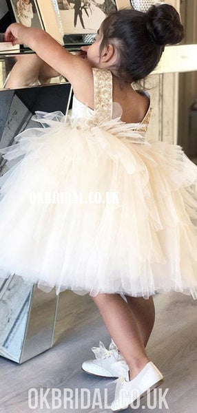 Cute A-line Tulle Flower Girl Dresses, Applique Little Girl Dresses, FC2106