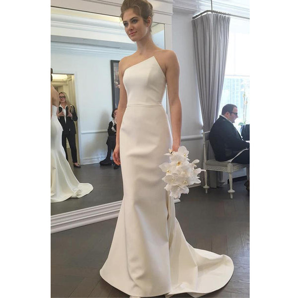 Charming Satin Wedding Dress, Simple Design Backless Mermaid Wedding Dress, KX210