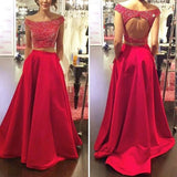 Off Shoulder Two Pieces Red Evening Prom Dresses, Sexy Open Back Party Prom Dress, Custom Long Prom Dresses, Cheap Formal Prom Dresses, 17081