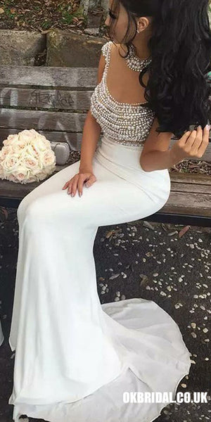 White Two Pieces Beaded Top Mermaid Tulle Cap Sleeve Jersey Prom Dresses, FC2143