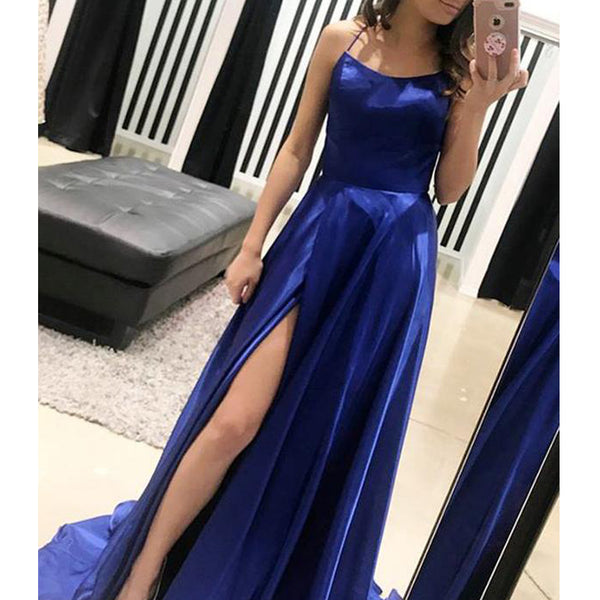 Royal Blue A-Line Sexy Slit Backless Long Elastic Satin Prom Dresses, FC215