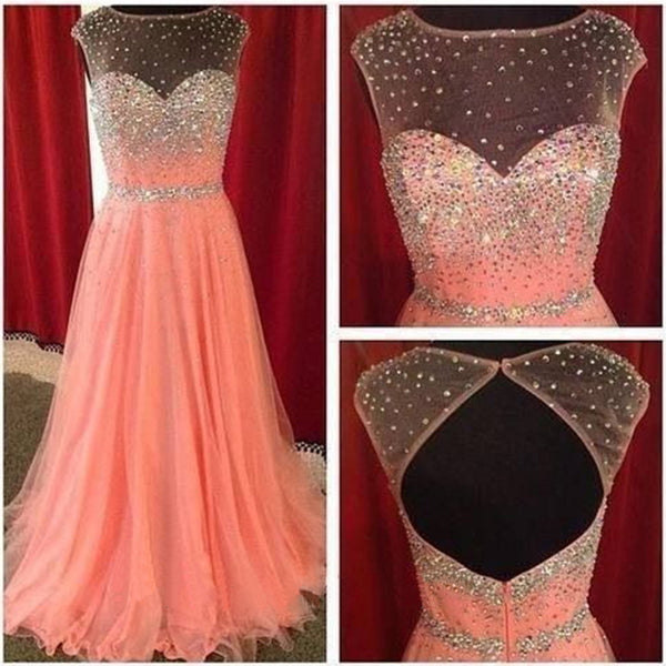 Beautiful Cap Sleeve Open Back Peach Sparkle Inexpensive Evening Long Prom Dresses, WG219