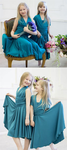 Convertible Teal Jersey Cheap Flower Girl Dresses, Junior Bridesmaid Dresses,  FG034