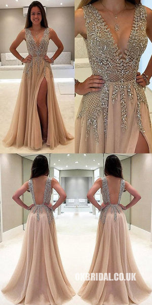 A-Line V-Neck Sleeveless Charming Tulle Side Split Beaded Backless Prom  Dresses e9a62dcf8