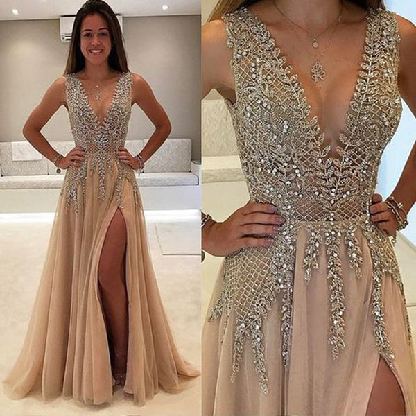 005005d399 A-Line V-Neck Sleeveless Charming Tulle Side Split Beaded Backless Prom  Dresses