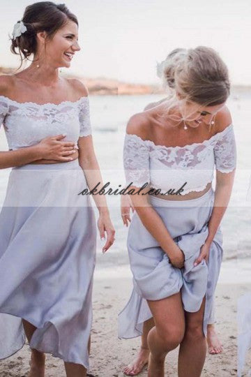 Two Pieces Chiffon Bridesmaid Dress, Off Shoulder Lace Backless Bridesmaid Dress, KX221