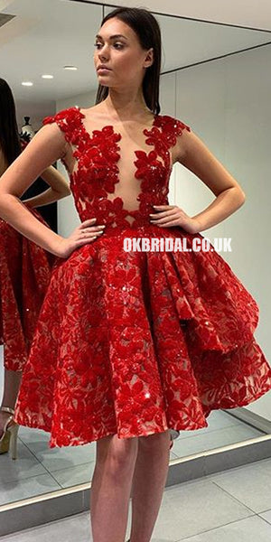 Red Lace High-Low Backless A-line Tulle Homecoming Dress, FC2228