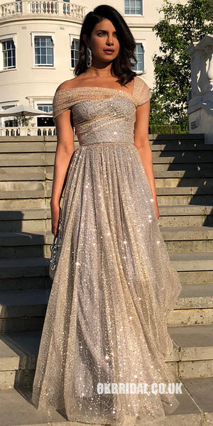 Sparkly Designed A-Line Sequin Backless Off Shoulder Prom Dresses, FC2252