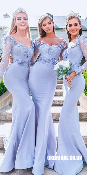 Charming Long Sleeve Mermaid Jersey Backless Applique Bridesmaid Dress, FC2260