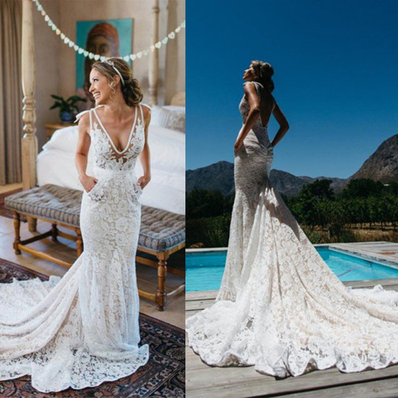 V-Neck Lace Mermaid Wedding Dress, Vintage Backless Wedding Dress ...