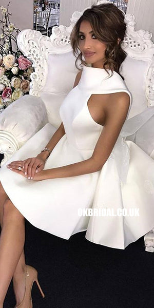 Short White A-line Satin Backless High Neck Bridesmaid Dresses, FC2271