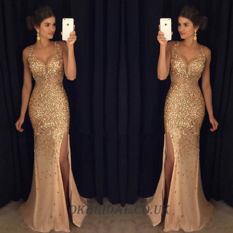 Sleeveless Prom Dress, Tulle Prom Dress, Beaded Prom Dress, Side Split Prom Dress, KX22