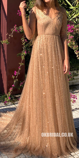 Sparkly Sequin Half Sleeve Open-Back A-Line Prom Dresses, FC2304