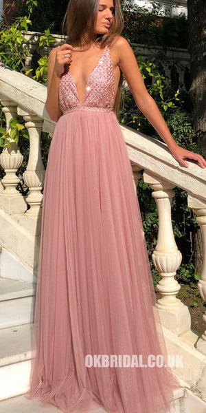 Sapghetti Straps Deep V-Neck A-Line Tulle Backless Sequin Prom Dresses,FC2308