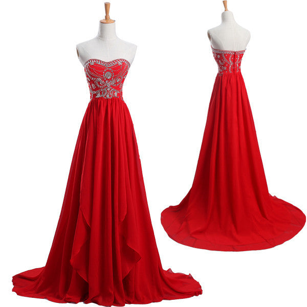 Elegant Red Chiffon Sweet Heart Formal A Line Cheap Simple Long Prom Dresses, WG230