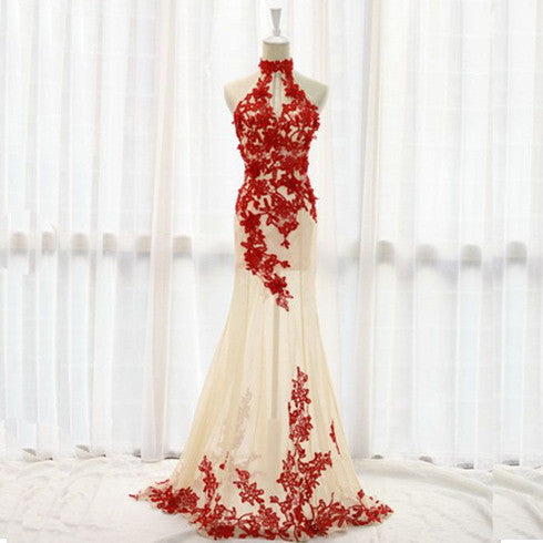 Red Applique High Neck Tulle Formal Charming On Sale Evening Party Long Prom Dresses, WG238