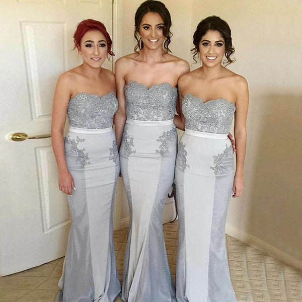 Sweet Heart Beaded Mermaid Bridesmaid Dress, Gorgeous Jersey Backless Bridesmaid Dresses, KX239