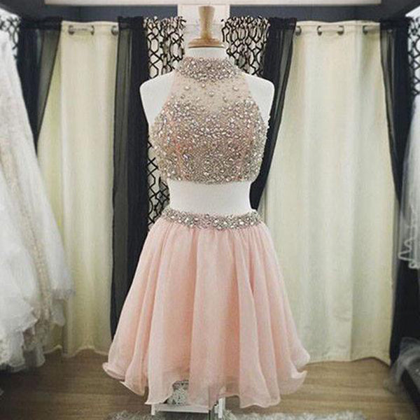 Two Pieces Homecoming Dress with Rhinestones,Short prom Dresses,Tulle prom Gown,Blush Pink Homecoming Dress,Beautiful Prom Gown,220034