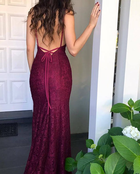 Long Prom Dress, Lace Prom Dress, Mermaid Prom Dress, Spaghetti Straps Prom Dress, Sexy Prom Dress, Backless Prom Dress, Floor-Length Party Dresses, Evening Dresses, LB0745