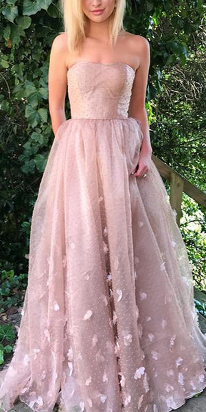 A-Line Lace Straight Neckline Backless Long Prom Dresses, FC245