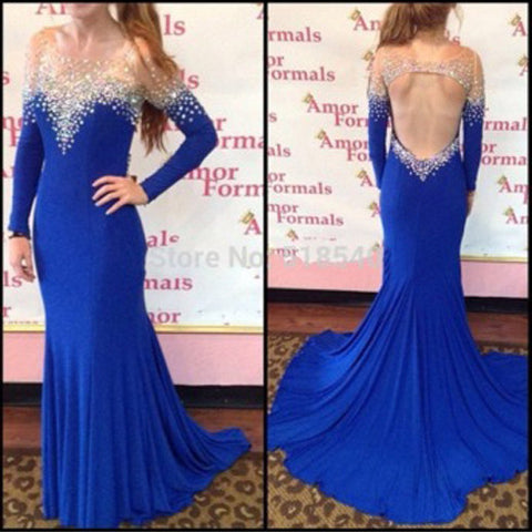 Beautiful Long Sleeve Open Back Royal Blue Mermaid Sexy Inexpensive Long Prom Dresses, WG250