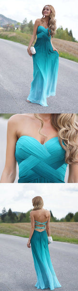 Pretty Junior Sexy Sweet Heart Gradient Open Back Floor Length Wdding Bridesmaid Prom Dresses, WG251