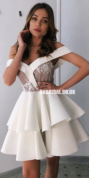 Charming Off Shoulder A-line Backless Lace Homecoming Dress, FC2522