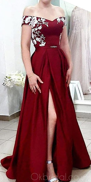 Off Shoulder A-line Satin Slit Applique Prom Dress, FC2545