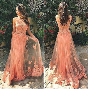 Charming Lace Tulle Peach Unique Pretty Formal Inexpensive Applique Long Prom Dresses, WG254