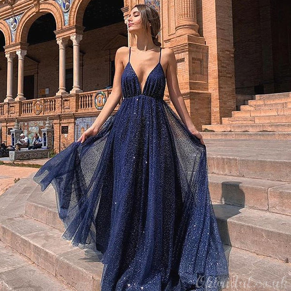 Navy A-line Sparkly Deep V-neck Backless Tulle Charming Prom Dress, FC2550