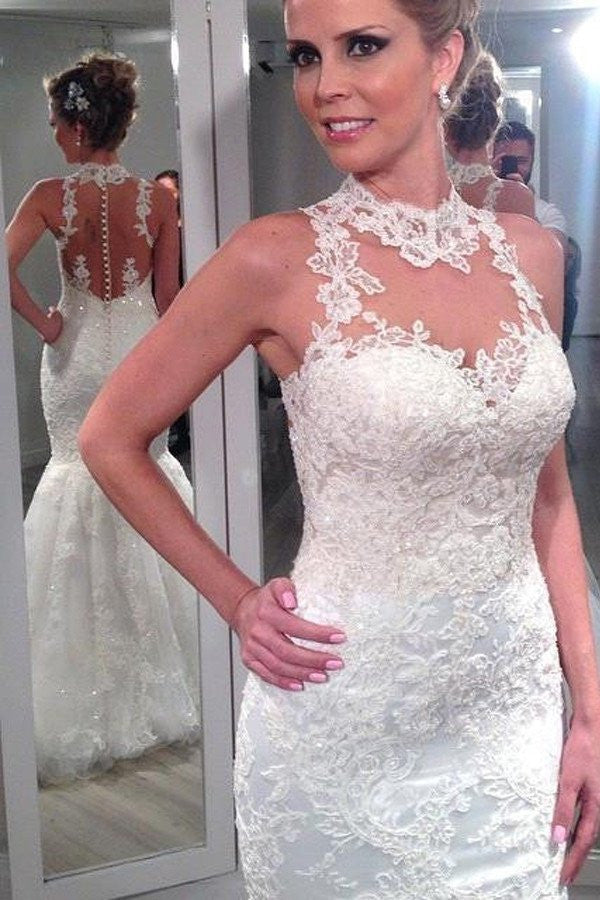 Lace Halter Mermaid Wedding Dresses,  Sexy Backless Custom Wedding Gowns, 17105