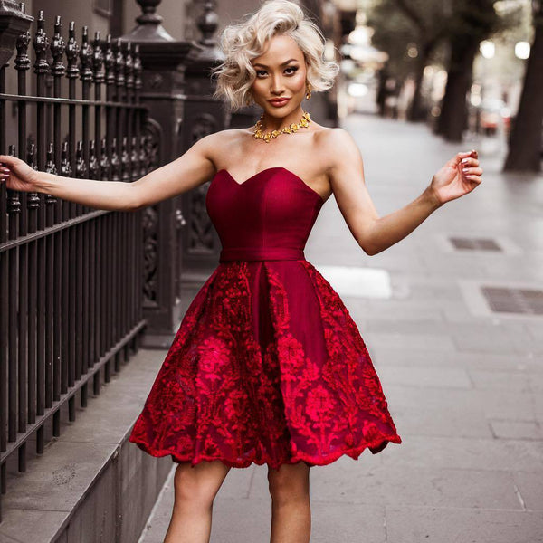 A-line Sweetheart Lace Backless Burgundy Homecoming Dress, FC2569