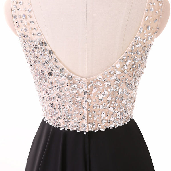 Long Prom Dresses, V-Neck Prom Dresses, Chiffon Party Prom Dresses, Sleeveless Prom Dresses, Floor-Length Prom Dresses, Sequin Prom Dresses Online, LB0264