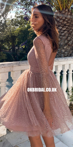 Sparkly A-line Long Sleeve Backless Cute Homecoming Dress, FC2672