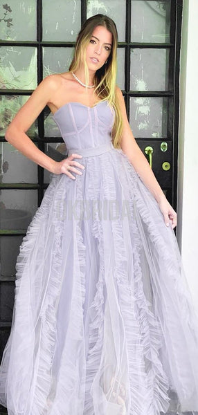 Sweetheart Honest Tulle A-line Slit Long Prom Dresses, FC2701
