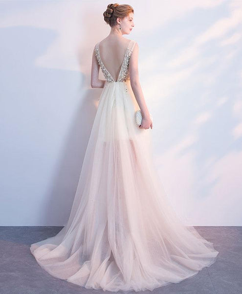New Arrival Tulle A-Line Prom Dress, V-Neck Backless Beaded Prom Dress, KX271