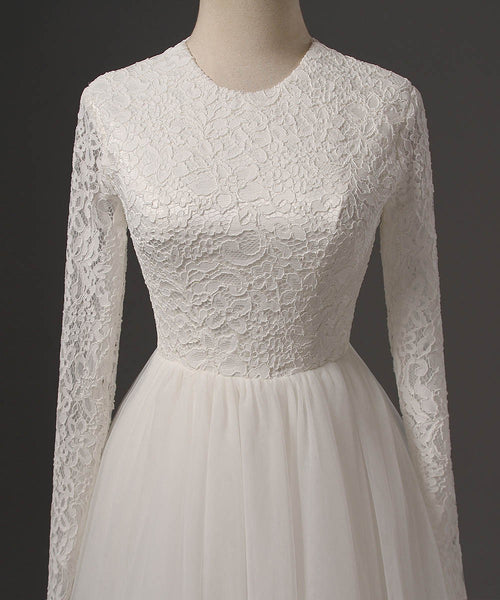 Long Wedding Dress, Lace Wedding Dress, Tulle Wedding Dress, Honest Bridal Dress, Long Sleeve Wedding Dress, Custom Made Wedding Dress, LB0272