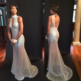 New Arrival Unique Design Sexy See Through High Neck Backless Beaded Long Prom Dresses, WG273