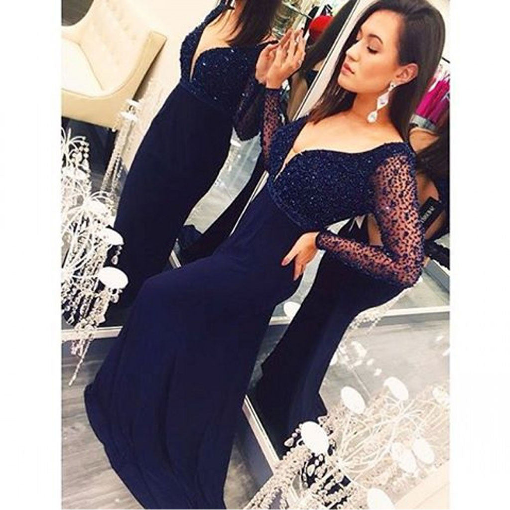 Sexy V Neck Unique Long Sleeves Elegant Fashion Cheap Long Prom Dresses, WG278