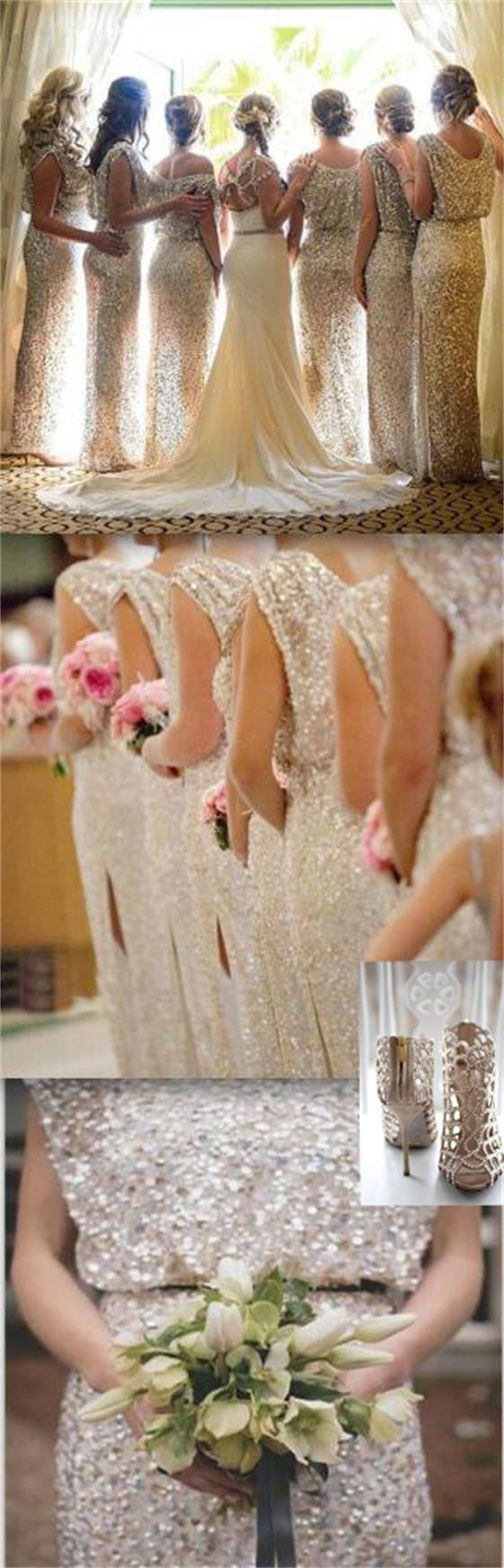 Popular Sparkly Bling Sequin Long On Sale Wedding Guest Dresses Formal Charming Bridesmaid Dresses, WG29