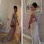 Sexy Long Sleeve One Shoulder High Neck Open Back Shinning Long Prom Dresses, WG280