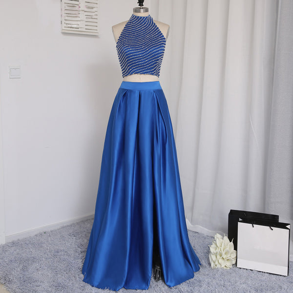 Long Prom Dress, Satin Prom Dress, Two Pieces Prom Dress, Dress for Party, Beading Prom Dress, Side Split Prom Dress, A-line High Collar Prom Dress, LB0282