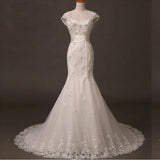 Lace Wedding Dress, Tulle Cap Sleeve Bridal Dress, Applique Mermaid Wedding Dress, LB0286