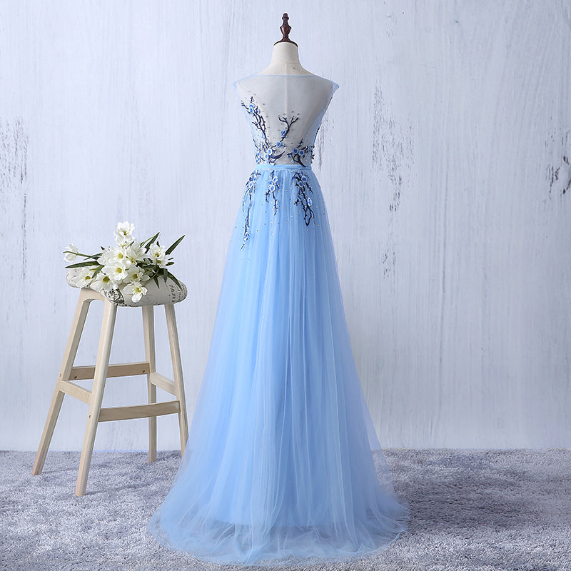 Long Prom Dresses, Sleeveless Prom Dresses, A-Line Party Prom Dresses, Tulle Prom Dresses, See Through Prom Dresses, Sequin Prom Dresses Online, LB0289