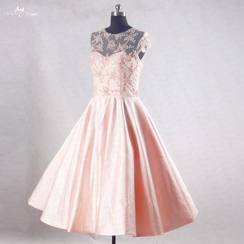 Cap Sleeve A Line Pearls Beading Knee Length Peach Pink Short Homecoming Dresses,220029