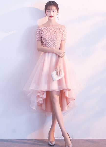 New Arrival High-Low Applique Homecoming Dresses, A-Line Organza Cheap Homecoming Dresses, KX294