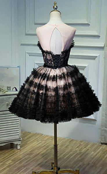 2017 Black Lace Short Homecoming Dresses Open Back Sexy Knee-Length Sleeveless Affordable Homecoming Dresses,220030