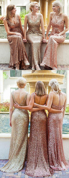 Popular Sequin Mismatched Mermaid Cheap Long Wedding Party Bridesmaid Dresses, WG306