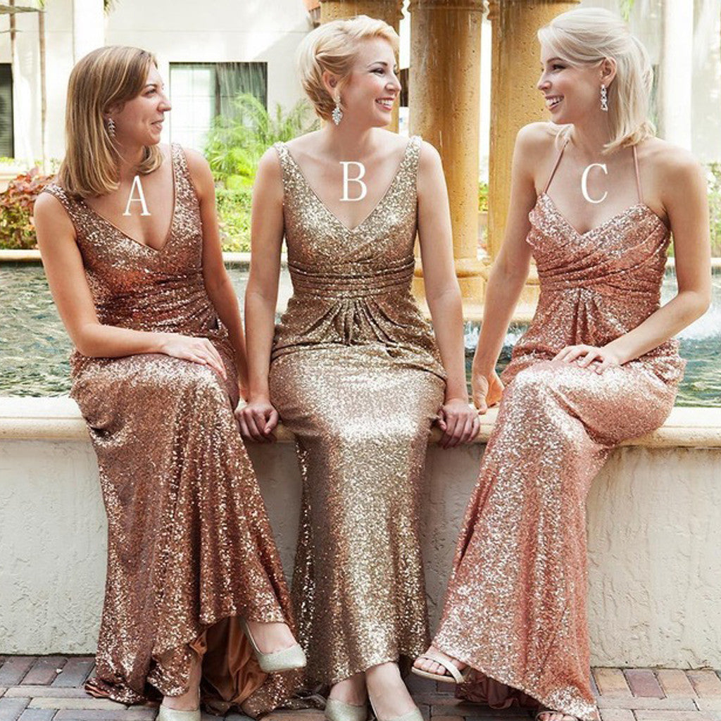 Mismatched Sequin Sexy Popular Cheap Long Wedding Party Bridesmaid Dresses, WG306
